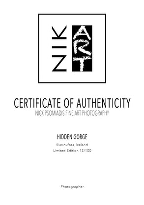 (CreativeWork) Hidden Gorge Ed. 13 of 100 by Nick Psomiadis. Photograph. Shop online at Bluethumb.