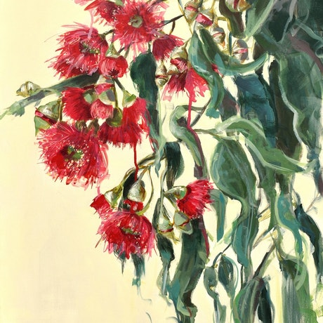 (CreativeWork) Flowering Gums by Rebecca Hill. Mixed Media. Shop online at Bluethumb.