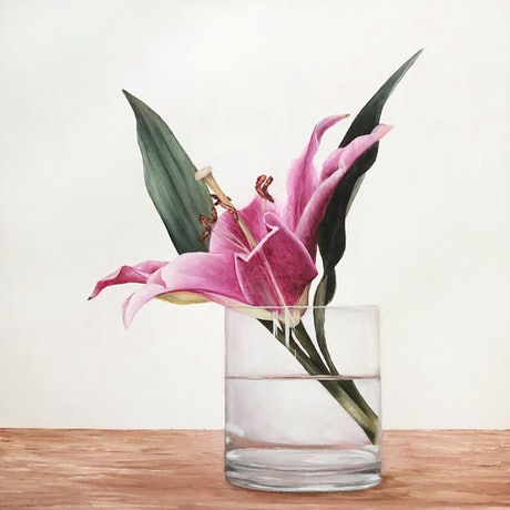 (CreativeWork) Pink Lily II by Jess Olding. Oil Paint. Shop online at Bluethumb.