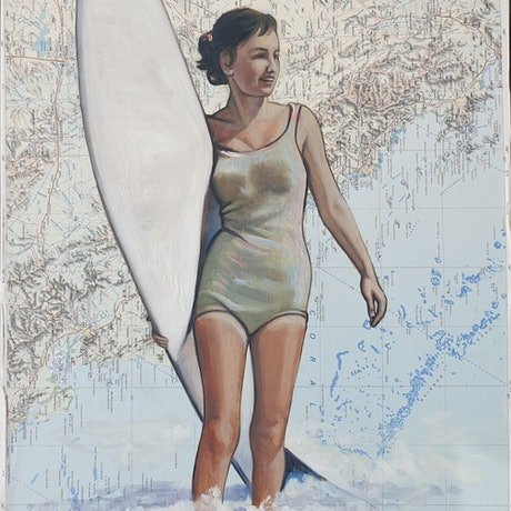 (CreativeWork) Rockhampton Style Surf by Sherry McCourt. Oil Paint. Shop online at Bluethumb.