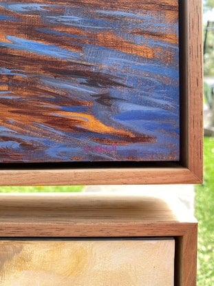 (CreativeWork) Not Forgotten  (FRAMED TRIPTYCH) by Kate Gradwell. Acrylic Paint. Shop online at Bluethumb.