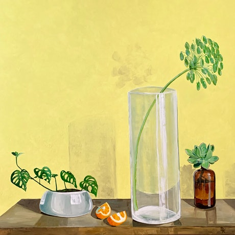 (CreativeWork) Monstera With Vessels #2 by Dominika Keller. Acrylic Paint. Shop online at Bluethumb.