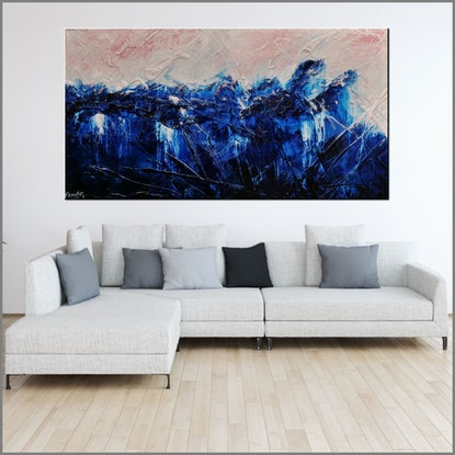 (CreativeWork) Sorrento Romance 190cm x 100cm Blue white Pink Textured Abstract Franko by _Franko _. Acrylic Paint. Shop online at Bluethumb.