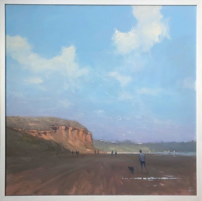 (CreativeWork) Sand Cliffs - beachscape by Mike Barr. Oil Paint. Shop online at Bluethumb.