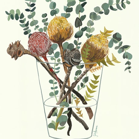 (CreativeWork) Mixed Banksia and Silver Dollar  by Sally Browne. Watercolour Paint. Shop online at Bluethumb.