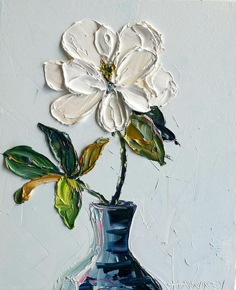 (CreativeWork) Spring Magnolia by Angela Hawkey. Oil Paint. Shop online at Bluethumb.