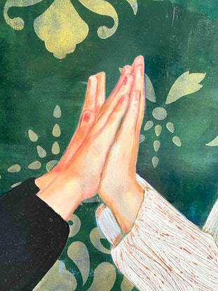 (CreativeWork) Clap Your Hands by Leah Mariani. Oil Paint. Shop online at Bluethumb.