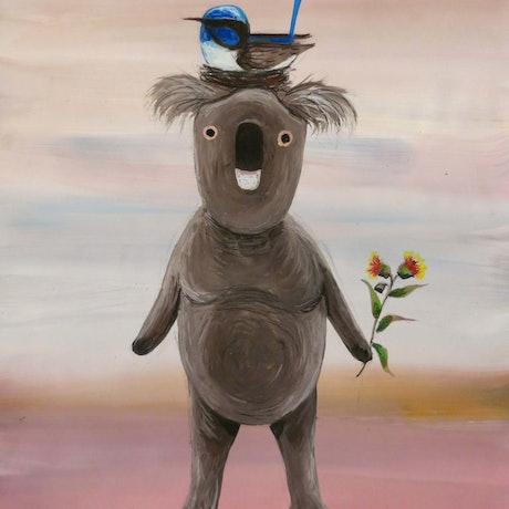 (CreativeWork) Koala and Wren by John Graham. Mixed Media. Shop online at Bluethumb.