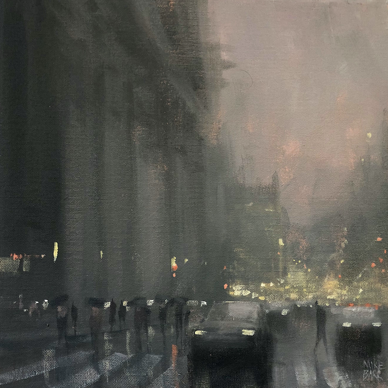 (CreativeWork) Opening Night - rainy day cityscape  by Mike Barr. Acrylic Paint. Shop online at Bluethumb.