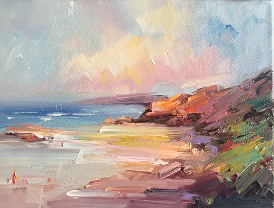 (CreativeWork) Sorrento Back beach No 27 by Liliana Gigovic. Oil Paint. Shop online at Bluethumb.