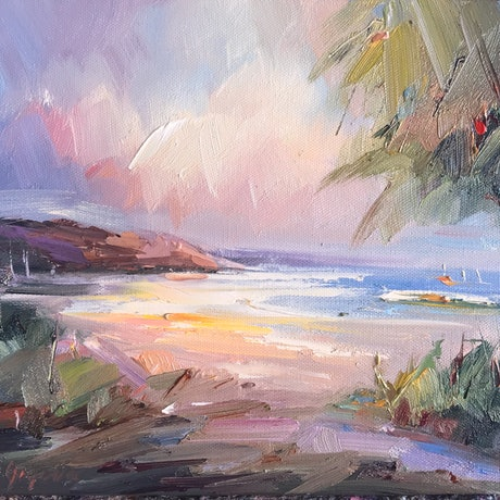 (CreativeWork) Sorrento Back beach No 28 by Liliana Gigovic. Oil Paint. Shop online at Bluethumb.