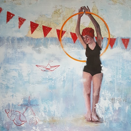 (CreativeWork) Beach Carnival by Elise Judd. Acrylic Paint. Shop online at Bluethumb.