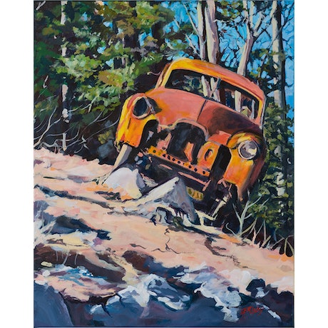 (CreativeWork) Rusty Car Living on the Edge by Eileen Scrymgeour Rigby. Acrylic Paint. Shop online at Bluethumb.