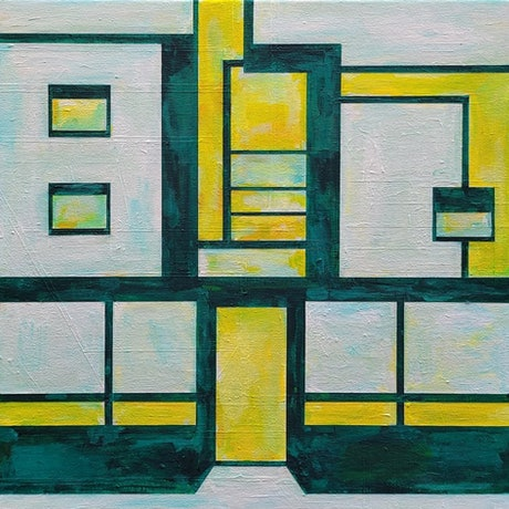 (CreativeWork) Seaside Moderne by Claudia Claveria. Acrylic Paint. Shop online at Bluethumb.
