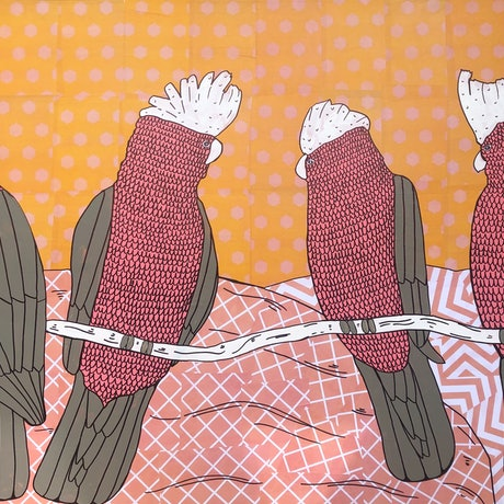 (CreativeWork) What a Bunch of Galah's!  by Sally Dunbar. Mixed Media. Shop online at Bluethumb.