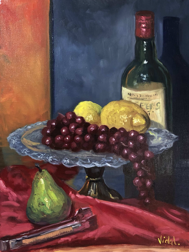 (CreativeWork) Wine, grapes, pear, lemons - still life  by Christopher Vidal. Oil Paint. Shop online at Bluethumb.