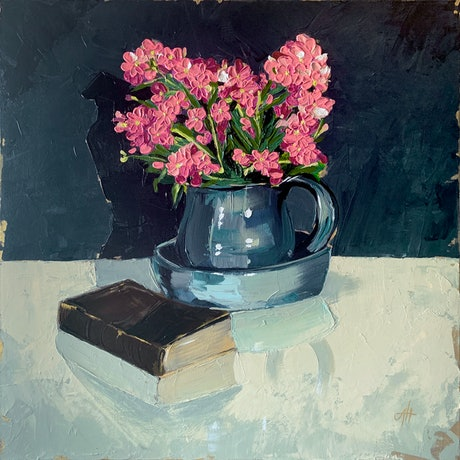 (CreativeWork) Fresh Pink Flowers by Amy Herman. Acrylic Paint. Shop online at Bluethumb.
