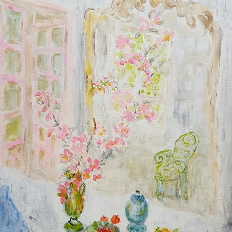 (CreativeWork) Cherry blossom branches in front of the mirror by jin Jin. Acrylic Paint. Shop online at Bluethumb.