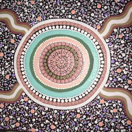 (CreativeWork) Aboriginal dot painting 'birthing place' by gidabul doobay. Acrylic Paint. Shop online at Bluethumb.