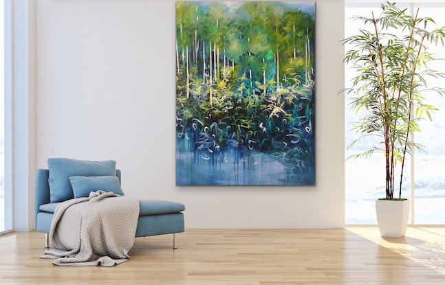 (CreativeWork) Blue Harmony by Maria Cross. Acrylic Paint. Shop online at Bluethumb.