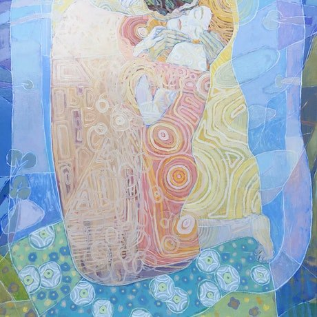 (CreativeWork) Healing Love. Remake After Gustav Klimt by Laura Vecmane. Oil Paint. Shop online at Bluethumb.