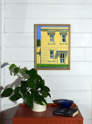 (CreativeWork) House with nature strip and bluestone kerb, James Street, Port Fairy by Paul Burman. Acrylic Paint. Shop online at Bluethumb.