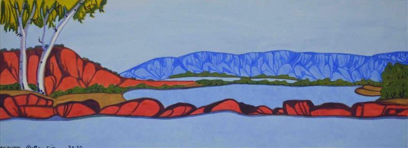 (CreativeWork) Tjoritja / West MacDonnell Ranges 30-20 by Mervyn Rubuntja. Watercolour Paint. Shop online at Bluethumb.