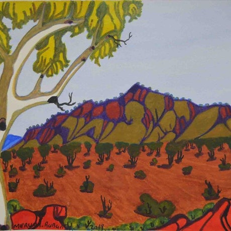 (CreativeWork) North-West of Alice Springs 335-19 by Mervyn Rubuntja. Watercolour Paint. Shop online at Bluethumb.