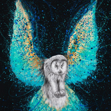 (CreativeWork) Illuminated Night Owl by Ashvin Harrison. Acrylic Paint. Shop online at Bluethumb.