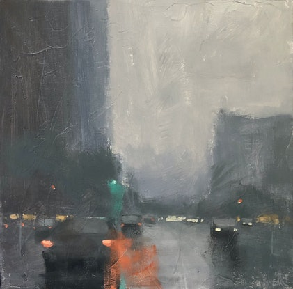 (CreativeWork) Friday Night - rainy day cityscape by Mike Barr. Acrylic Paint. Shop online at Bluethumb.