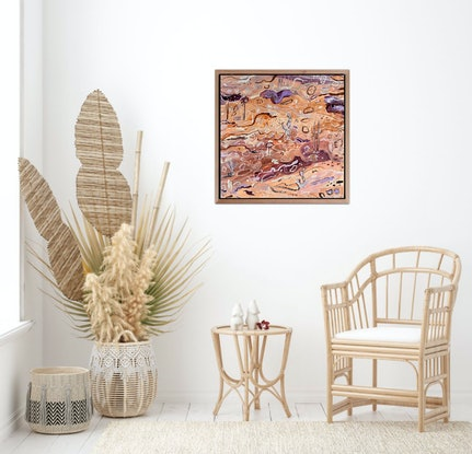 (CreativeWork) Lilac Sands 2 - Framed in Oak  by Carley Bourne. Acrylic Paint. Shop online at Bluethumb.