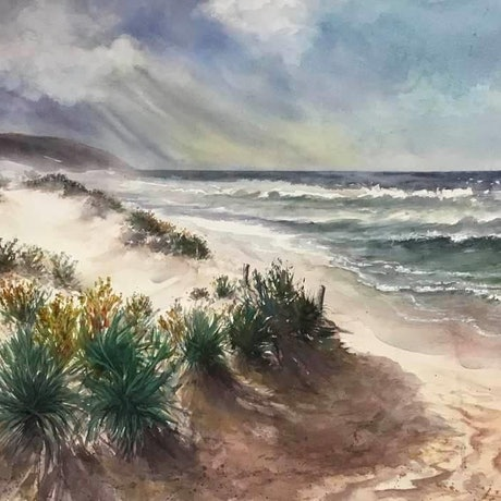 (CreativeWork) Waitpinga Storm by Robin Hicks. Watercolour Paint. Shop online at Bluethumb.
