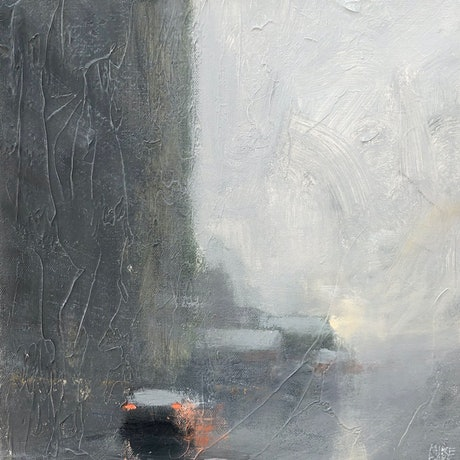 (CreativeWork) Sunrise Showers - rainy day cityscape by Mike Barr. Acrylic Paint. Shop online at Bluethumb.