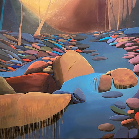 (CreativeWork) Dream Creek by Sarika Sriwong-rach. Acrylic Paint. Shop online at Bluethumb.