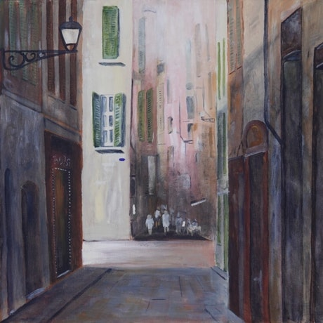 (CreativeWork) Nice, Old Town by Christopher Johnston. Acrylic Paint. Shop online at Bluethumb.