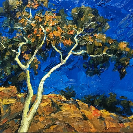 (CreativeWork) Gum Tree Vi  by Fangmin Wu. Oil Paint. Shop online at Bluethumb.