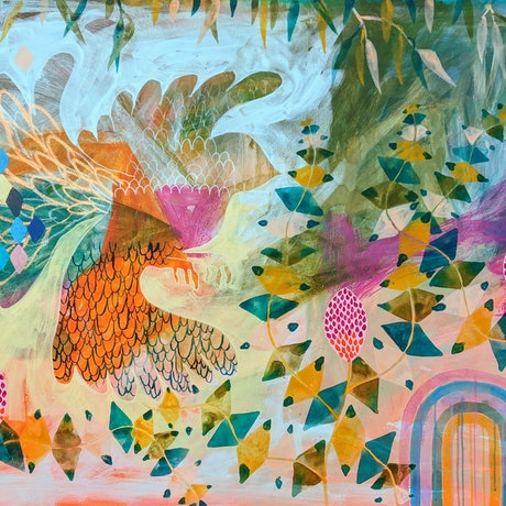 (CreativeWork) Blue Bird in the Banksia's - framed by Marinka Parnham. Acrylic Paint. Shop online at Bluethumb.