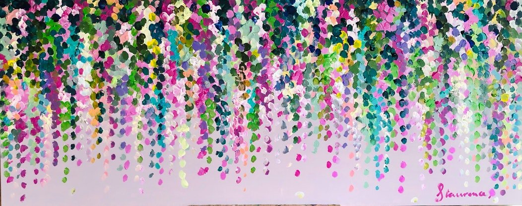 (CreativeWork) Pink on pink wisteria 153x62 framed large textured abstract flowers  by Sophie Lawrence. Acrylic. Shop online at Bluethumb.