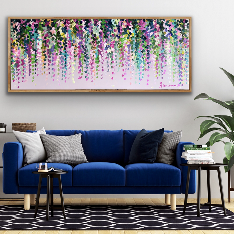 (CreativeWork) Pink on pink wisteria 153x62 framed large textured abstract flowers  by Sophie Lawrence. Acrylic Paint. Shop online at Bluethumb.