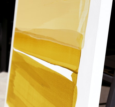 (CreativeWork) Bertoia - mustard, yellow abstract by Stephanie Laine. Acrylic. Shop online at Bluethumb.