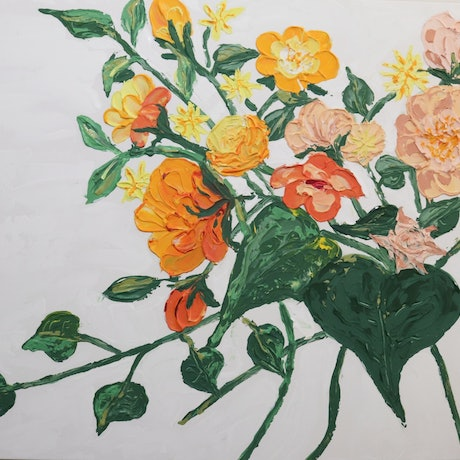 (CreativeWork) Wild Roses in Spring by Kat Schmitt. Acrylic Paint. Shop online at Bluethumb.