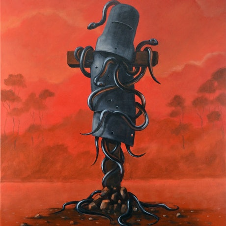 "(CreativeWork) Ned Kelly "" Rust and dust"" by Max Horst  Sokolowski. Acrylic Paint. Shop online at Bluethumb."