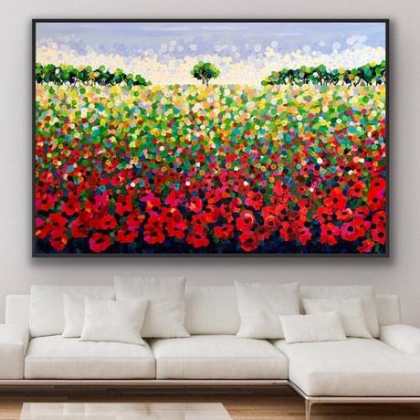 (CreativeWork) Field poppies 183x122 framed large textured abstract landscape by Sophie Lawrence. Acrylic Paint. Shop online at Bluethumb.