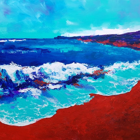 (CreativeWork) Blue Wash by Brigitte Ackland. Acrylic Paint. Shop online at Bluethumb.