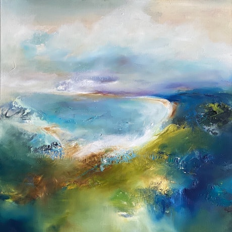 (CreativeWork) Walking the Bay by Joanne Duffy. Oil Paint. Shop online at Bluethumb.