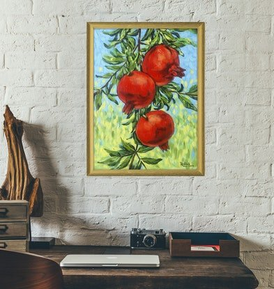 (CreativeWork) Pomegranates – framed original painting by Irina Redine. Acrylic Paint. Shop online at Bluethumb.