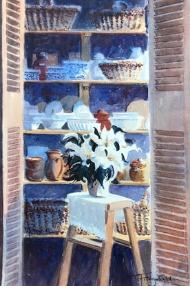 (CreativeWork) French Pantry by Catherine Fitzgerald. Watercolour Paint. Shop online at Bluethumb.