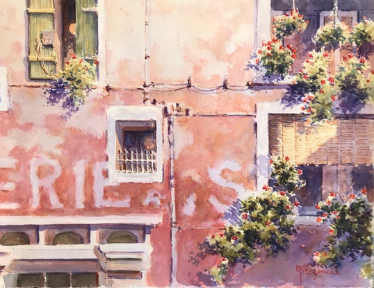 (CreativeWork) Home on the Riviera by Catherine Fitzgerald. Watercolour Paint. Shop online at Bluethumb.