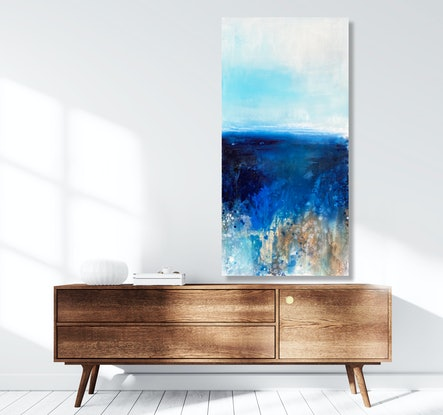 (CreativeWork) Sky Blue by Kathleen Rhee. Acrylic Paint. Shop online at Bluethumb.