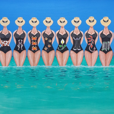 (CreativeWork) Star signs @ the beach by Andrea Berry. Acrylic Paint. Shop online at Bluethumb.